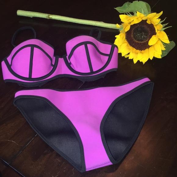8c8687dd2c8 Purple Scuba Diving Material Bathing Suit Set NEW.  M_5a9f329a739d481512d57b97
